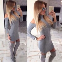 Turtleneck Off The Shoulder Full Sleeve Bodycon Sweater Dress