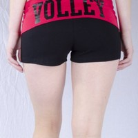 Juniors Two Tone Fold Over Volleyball Spandex Shorts Pink or Turquoise (Medium, Black/Red)