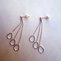 Sterling dangling earrings on box chains with three pear shape open links.