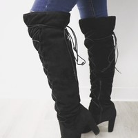 Good To Be Bad Black Suede Over The Knee Boots