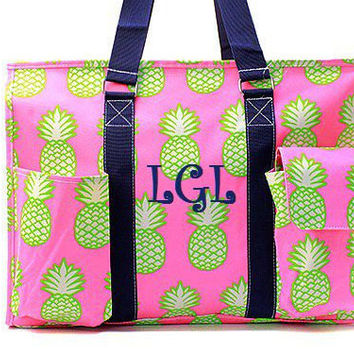 Monogrammed Navy and Pink Pineapple Utility Tote  Monogrammed Utility Tote Bag  Monogrammed Tote Bag