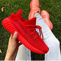 Red Adidas Yeezy Boost Fashion Women Running Sneakers Sport Shoes