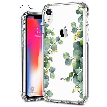 ZADORN iPhone XR Cases with Screen Protector,Clear with Floral Designs for Girls Women,Hard PC and Soft TPU Bumper Protective Phone Case for iPhone XR Green Leaves Green Leaves/Clear