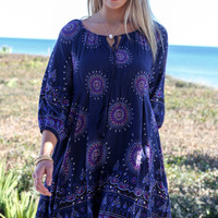 Last Chance Navy Medallion Print Dress