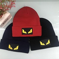 FENDI Winter Stylish Women Men Embroidery Warmer Hip-Hop Knit Hat Cap