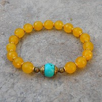 Joy, Genuine Faceted Yellow Jade Gemstone Mala Bracelet with Tibetan Capped Turquoise Guru Bead