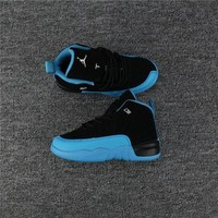 DCCK Kids Air Jordan 12 Black/Blue Sneaker Shoe Size US 11C-3Y