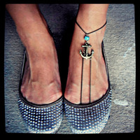 Barefoot Sandal Anchor and Turquoise Ankle Bracelet