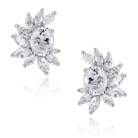 Oval and Marquise Cubic Zirconia Stud Earrings