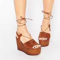 ASOS TOO GOOD Suede Tie Up Wedge Sandals at asos.com