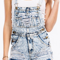 Distressed Damaged Short Denim Overalls