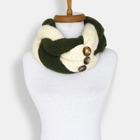 Knitted Braided Cowl - Hand Knit Scarf - Braided Chunky Cowl with Horn Toggle Button in Natural, Button up Accessory, Gift For Her, Teens