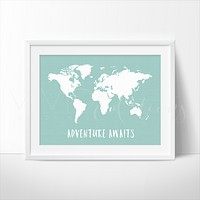 Adventure Awaits World Map, Mint