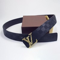 Perfect Louis Vuitton LV Woman Men Fashion Smooth Buckle Belt Leather Belt