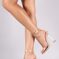 Open Toe Ankle Strap Lucite Chunky Heel