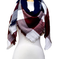 Blanket Scarf - Burgundy/Navy