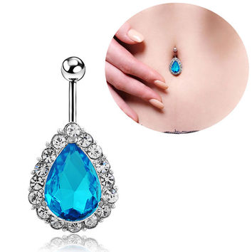 New Charming Dangle Crystal Navel Belly Ring Bling Barbell Button Ring Piercing Body Jewelry = 4661792580