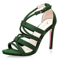 2016 Summer women sandals Sexy Red bottom high heels Gladiator sandals women Sandalias mujer Cross strap buckle club shoes woman