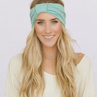 Mint Green Turband Wide Headband Sparrow Headband in Mint Stretchy Jersey Hair Band Ruched with Fabric Wrap
