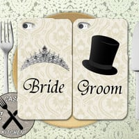 Bride And Groom Wedding Marriage Matching Pair Hat Tiara Custom Rubber Tough Phone Case For The iPhone 4 and 4s and iPhone 5 and 5s and 5c