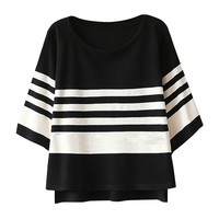 Half Sleeve Striped High-low Sweater