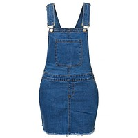 High Rise Frayed Hem Blue Denim Overall Skirt with Adjustable Straps (CLEARANCE)
