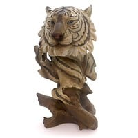 Animal WHITE TIGER BUST Polyresin Bengal Cat Woodlike Carving Py4798