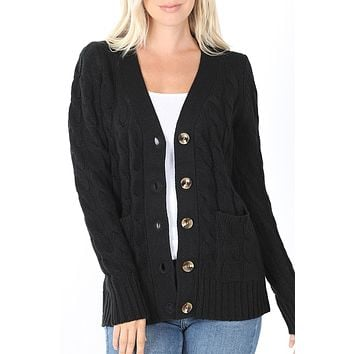 Long Sleeve Button Down Cable Knit Sweater Cardigan with Pockets