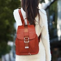 MapleClan Vintage Preppy Style Top Layer Cow Leather Womens Backpack