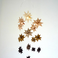 Baby Mobile Hanging Origami Stars -Ombre Brown