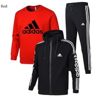 ADIDAS winter plus velvet thickening sports and leisure warm men's three-piece Red
