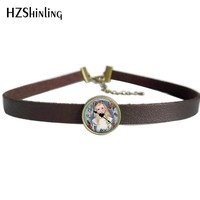 2017 NEW Alice in Wonderland Necklaces Choker With Pendant Sun and Moon Jewelry Leather Choker Necklace For Women