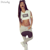 Women's Sexy Letters Print 2 Piece Set Jumpsuits 2016 Ladies Casual Sleeveless Bodysuit Rompers Hip Hop Crop Tops And Pants SD01