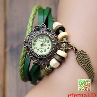 The wings of the angel watch leather wrap watch, leather band wrist watch, women wrist watches with vintage , Leather watch bracelet