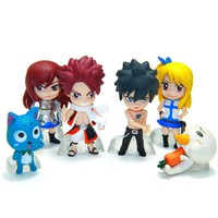 Fairy Tail Anime PVC Mini Action Figure Set 6 Pieces