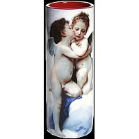 Two Cupids Babies with Wings Angels Ceramic Flower Bud Museum Vase 7.75H