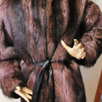 Vintage REVERSIBLE black leather and mink fur coat, parka