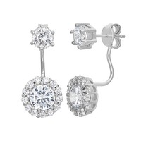 Cubic Zirconia Sterling Silver Front-Back Halo Drop Earrings (White)