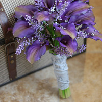 Real Touch Purple Calla Lily Wedding Bouquet - Purple Gray and Silver