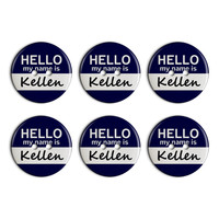 Kellen Hello My Name Is Plastic Resin Button Set of 6