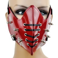 Red PVC Motorcycle Riding Mask Corset Spike Biker Cosplay