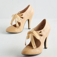 Darling Tea on the Train Heel in Biscotti by ModCloth
