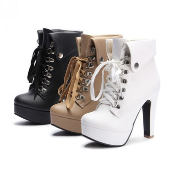 Fashion 2015 Winter Women Platform High Heels Ankle Boots Plus Size 35-43 = 1946494724