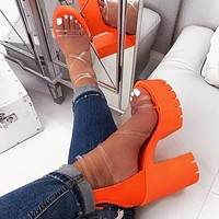 Summer Fashion Women Pure Color High Heels Sandals Shoes