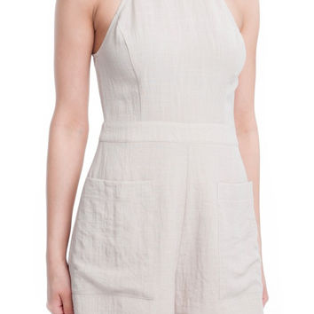 High Neck Front Pockets Romper - Linen