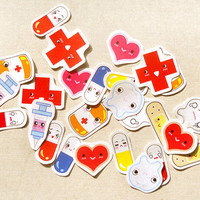 Cute Health and Medicine Planner Stickers: Doctor Appointment Sticker Pack of 30, Cute Pill Stickers, Stickers for Planner, Dentist Stickers