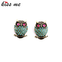 KISS ME New Design Vintage Personality Imitation Gemstone Owl Women Stud Earrings Fashion Jewelry