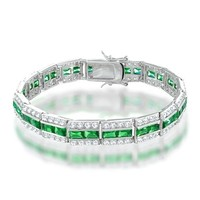 Bling Jewelry Round CZ Baguette Green Emerald Color Tennis Bracelet 7.5 in.