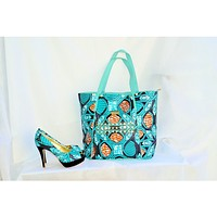 ERQE Blue African Print Peep Toe Shoe And Bag