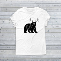 Beer Bear Deer Shirt, Custom Shirts, Gift for Him, Drinking Beer Shirt, Birthday Gift for Dad, Saying Shirt, Racerback Tank Top, Wholesale